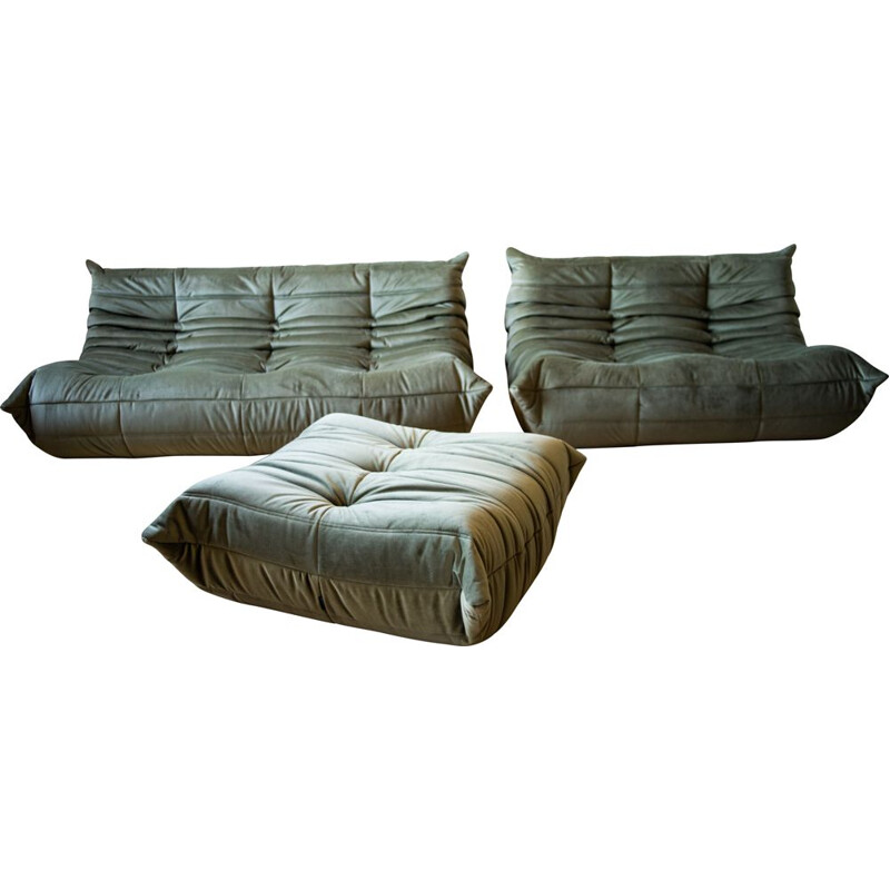 Set of  vintage 3 and 2 seater sofa with pouffe Togo  in velvet by Michel Ducaroy for Ligne Roset
