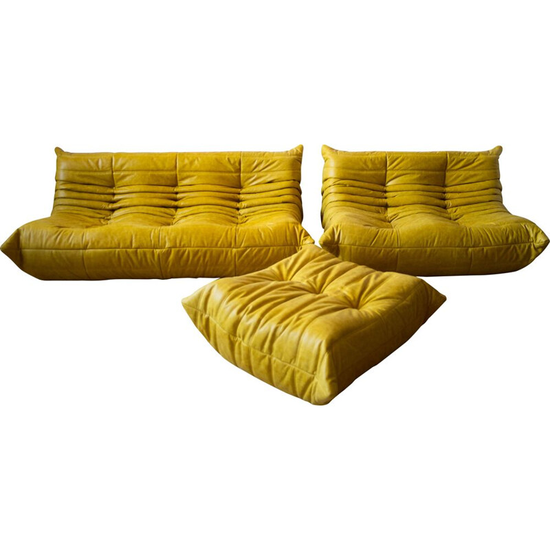 Set of vintage 3 and 2 seater sofa with pouffe Togo leather by Michel Ducaroy for Ligne Roset