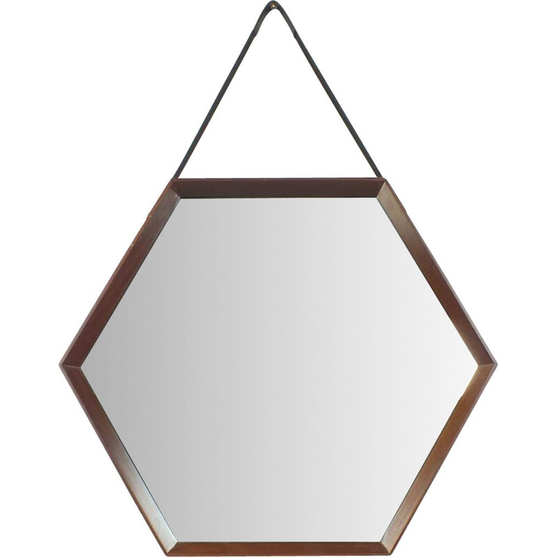 Vintage hexagonal mirror with wooden frame and leather strap Italy