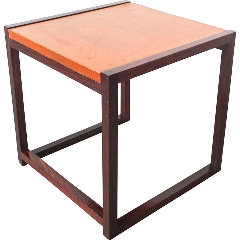 Vintage small side table in rosewood and leather Denmark 1960s