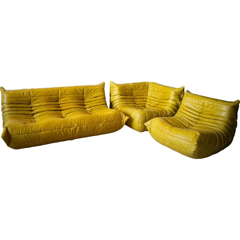 Set of vintage 3-seater sofa and chaise longue with corner armchair Togo  in leather by Michel Ducaroy for Ligne Roset