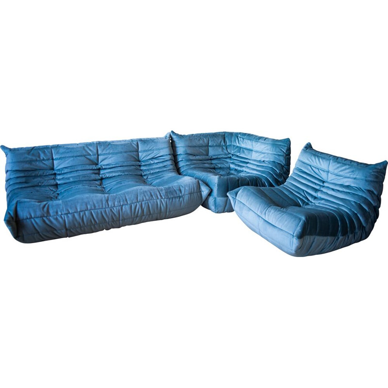 Set of vintage 3-seater sofa and chaise longue with corner armchair Togo  in velvet by Michel Ducaroy for Ligne Roset