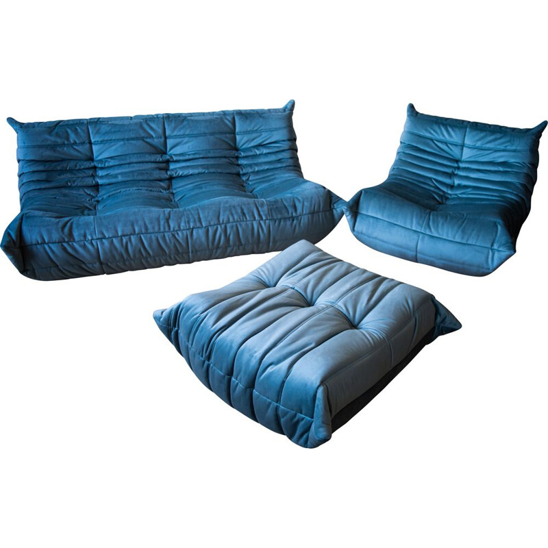 Set of vintage 3-seater sofa and chaise longue with pouffe Togo in velvet by Michel Ducaroy for Ligne Roset
