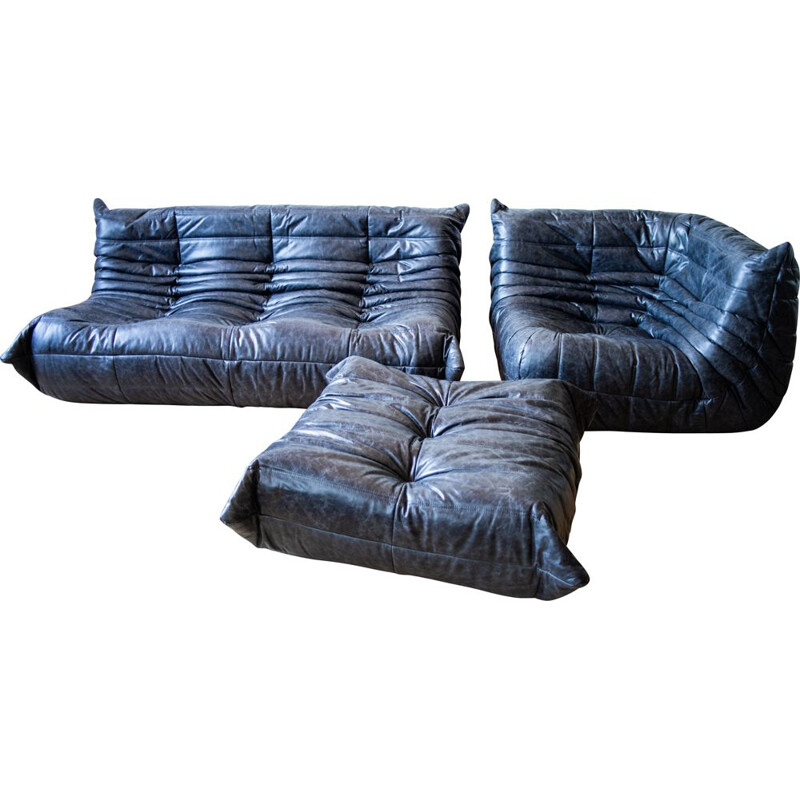 Set of vintage 3-seater sofa and corner armchair with pouffe Togo leather  by Michel Ducaroy for Ligne Roset
