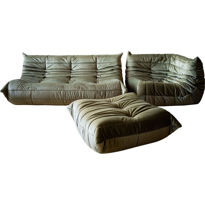 Set of vintage 3-seater sofa and corner armchair with pouffe Togo in velvet by Michel Ducaroy for Ligne Roset