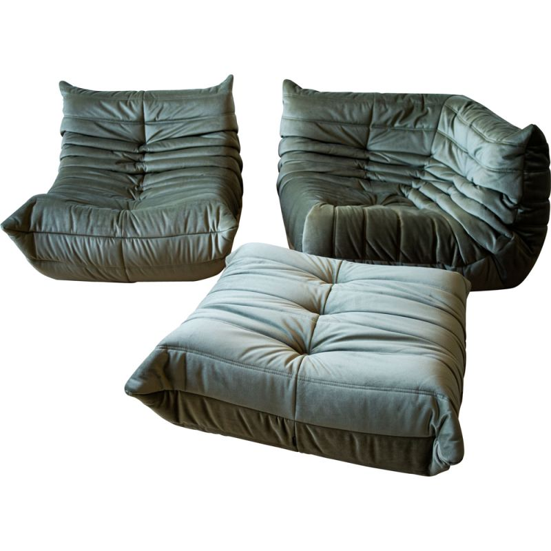 Set of vintage armchair and corner armchair with pouffe Togo in velvet by Michel Ducaroy for Ligne Roset