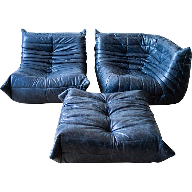 Set of vintage armchair and corner armchair with pouffe Togo leather by Michel Ducaroy for Ligne Roset
