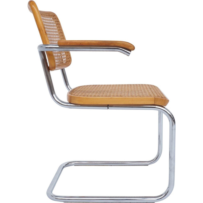 Vintage Cesca chair with armrests from Thonet by Marcel Breuer