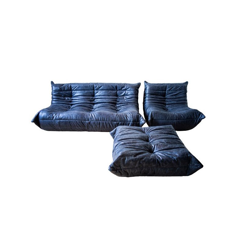 Set of vintage 3-seater sofa and chaise longue with pouffe Togo leather  by Michel Ducaroy for Ligne Roset