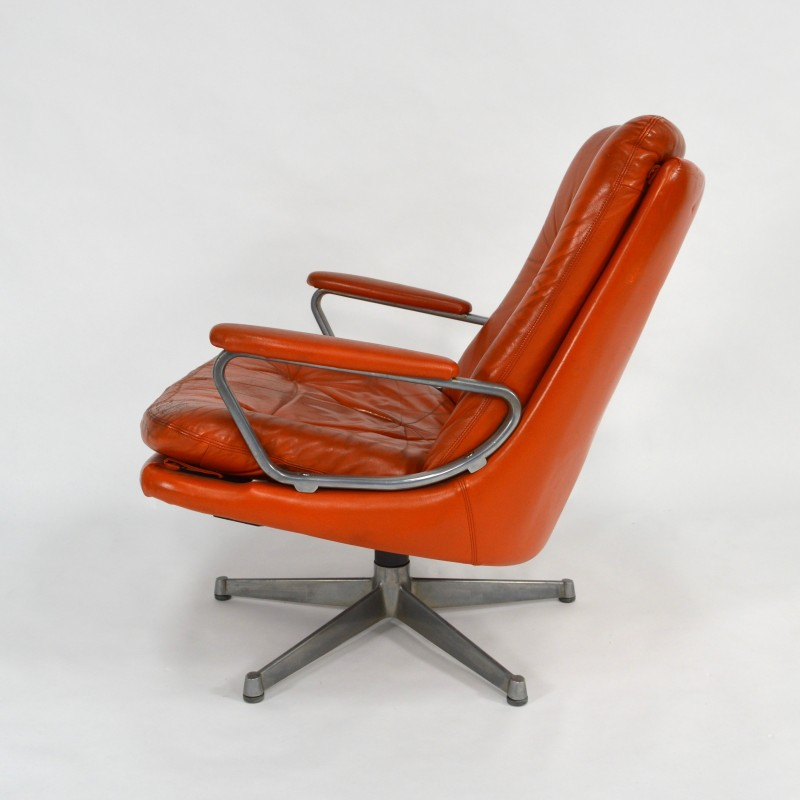 Magnificent Strassle Swivel Desk Chair In Orange Leather And Aluminium Andre Vandenbeuck 1960S Ncnpc Chair Design For Home Ncnpcorg
