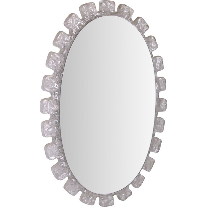 Vintage large voval wall mirror from Hillebrand Germany 1960s