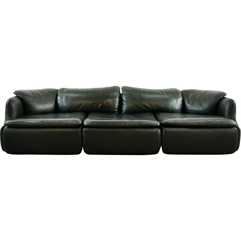 Vintage sectional sofa confidential in black leather by Alberto Rosselli for Saporiti 1972s