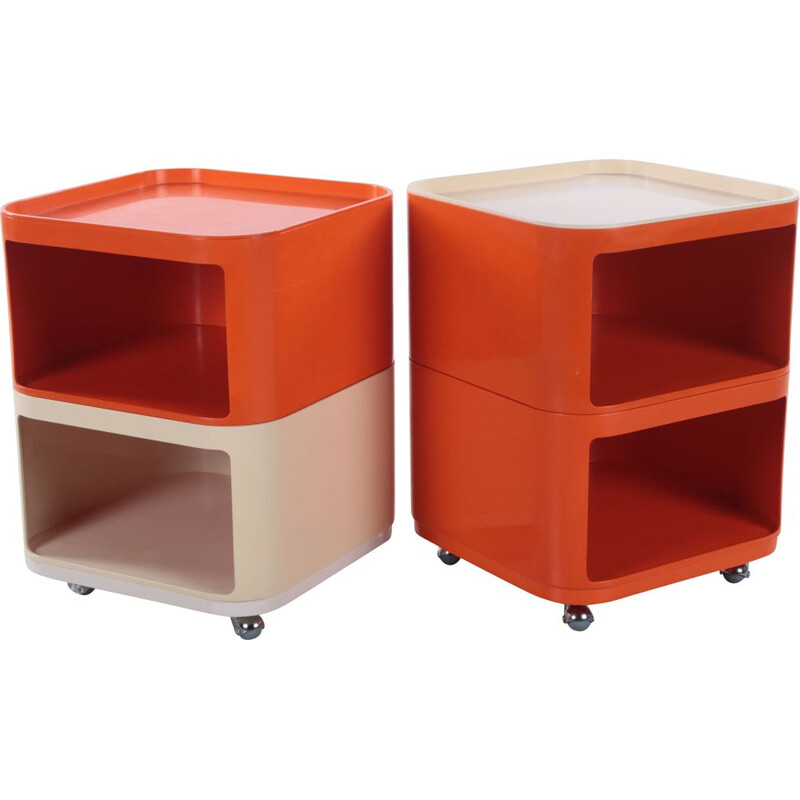 Pair of vintage Kartell cabinets by Anna Castelli Ferrieri by Kartell Italy 1967s