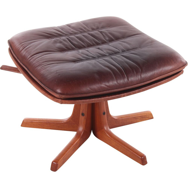 Vintage teak and leather footrest by Berg 1970s