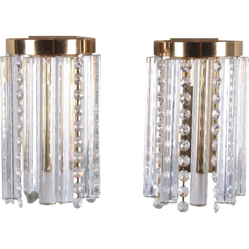 Pair of vintage glass and brass wall lamps Hollywood Regency 1970s