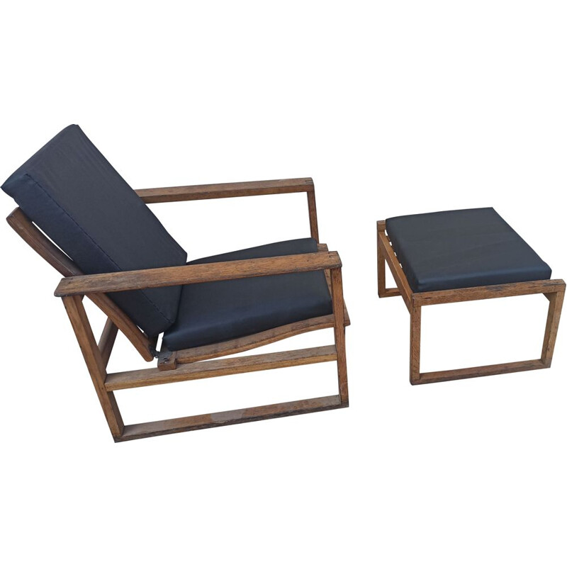 Vintage armchair and ottoman model 2256 by Børge Mogensen 1950