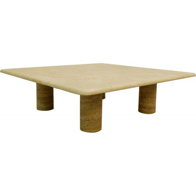 Vintage square travertine coffee table by Angelo Mangiarotti Italy 1960s