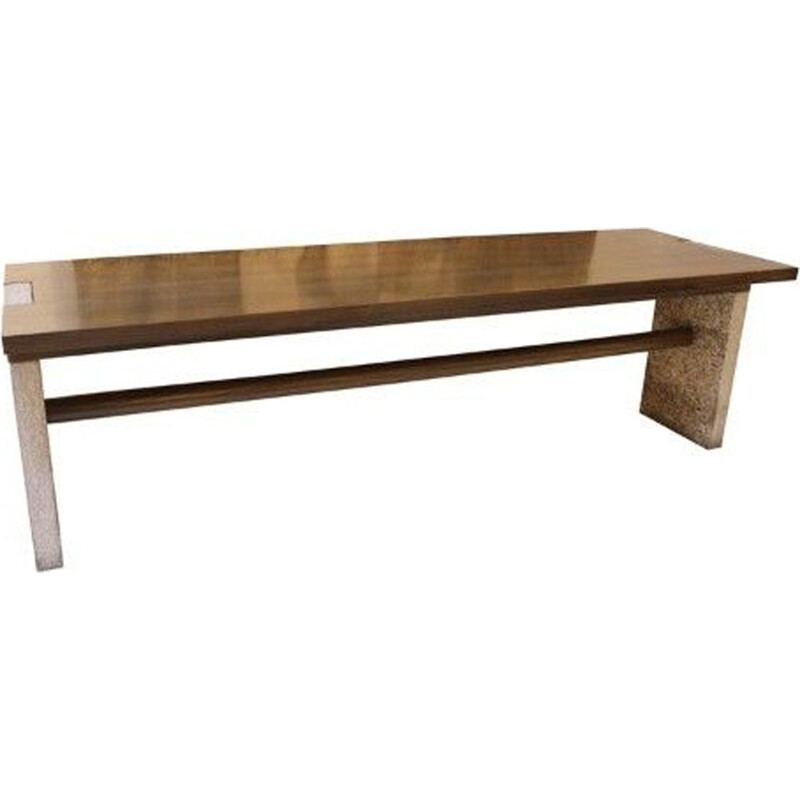 Vintage Valmarana console in stone and wood by Carlo Scarpa for Simon Italy 1972s