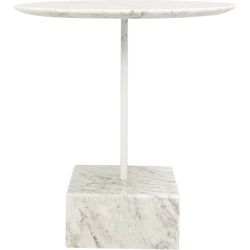 Vintage Primavera side table in white marble by Ettore Sottsass for Ultima Edizione