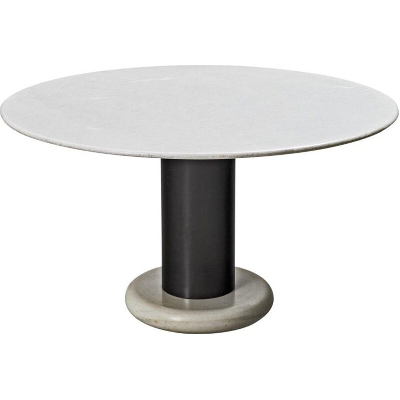 Vintage Carrara marble pedestal table by Ettore Sottsass Italy