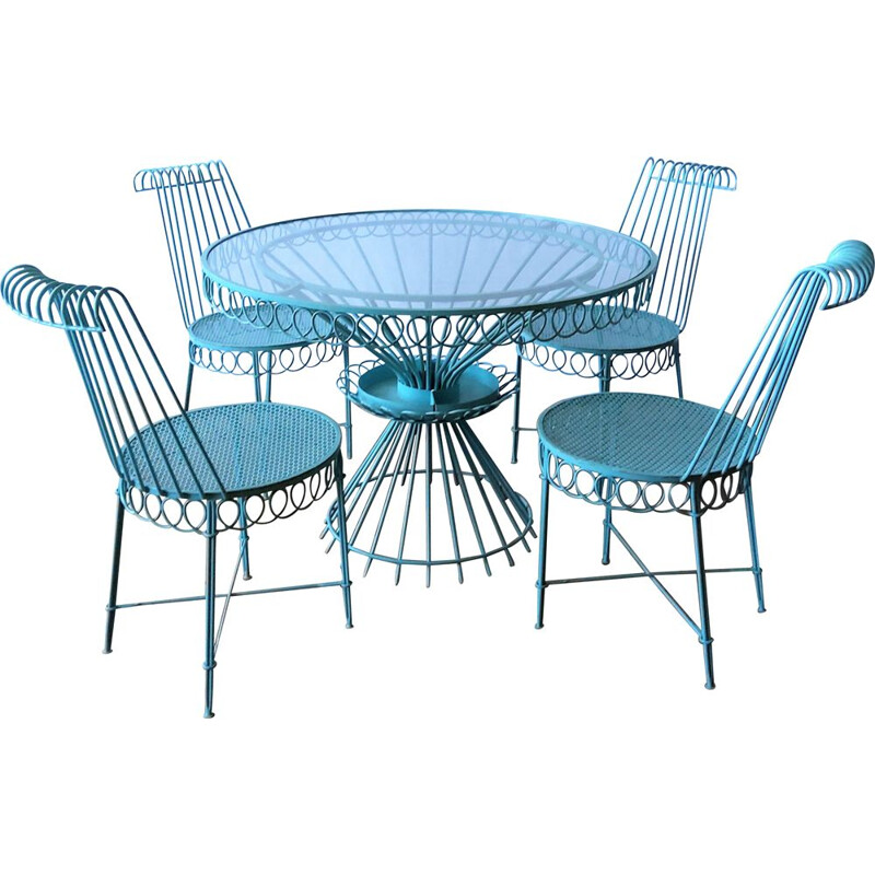 Set of 4 chairs and round vintage glass table Matégot 1950s