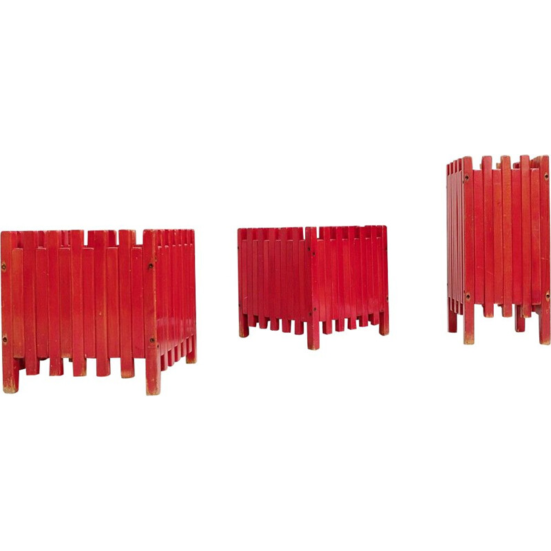 Set of 3 vintage red planters by Ettore Sottsass for Poltronova 1961s