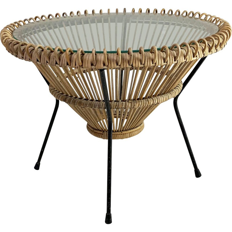 Vintage rattan coffee table by Franco Albini Italy 1950s