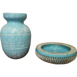 Set of blue turquoise ceramics, Jean BESNARD - 1930s