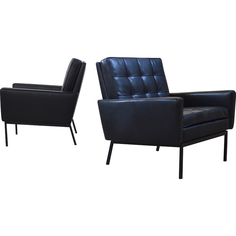 Knoll pair of armchairs in black leather, Florence KNOLL - 1958