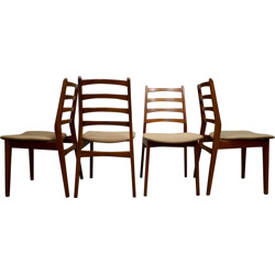 Set of 4 Scandinavian dining chairs in teak wood - 1950s