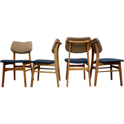 Set of 4 blue and beige dining chairs in teak wood - 1950s