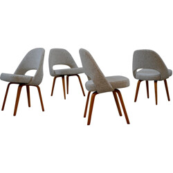 Set of four Executive Knoll chairs in wood and wool, Eero SAARINEN - 1950s