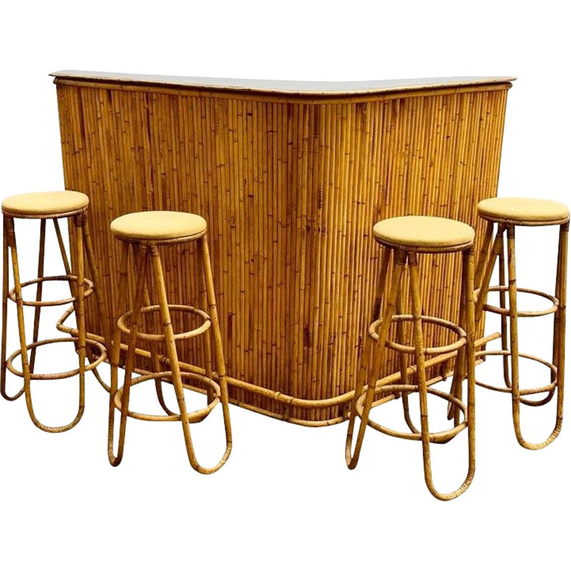 Set of 4 vintage bamboo stools and bar 1960s