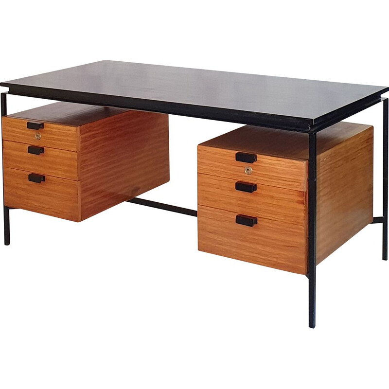 Vintage CM 172 desk in mahogany and metal by Pierre Paulin for Thonet 1957