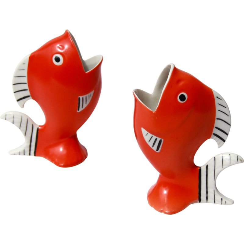 Pair of vintage PesciRossi fish in porcelain Italy 1940s