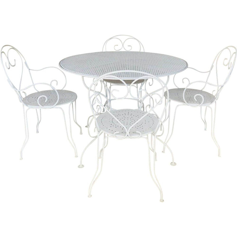 Set of 4 chairs and vintage garden table from Patio restored by Mathieu Matégot 1950s