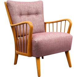Armchair in rosequartz fabric and beech - 1950s