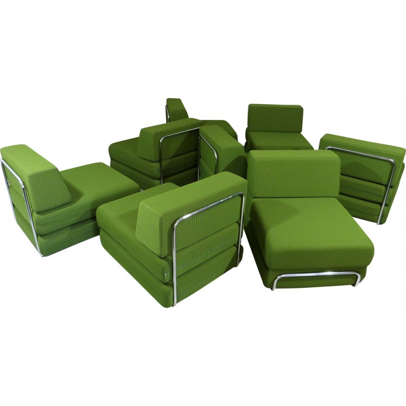 Terrific Sofa And Bed Elements In Chromed Steel And Lime Green Fabric 1970S Caraccident5 Cool Chair Designs And Ideas Caraccident5Info