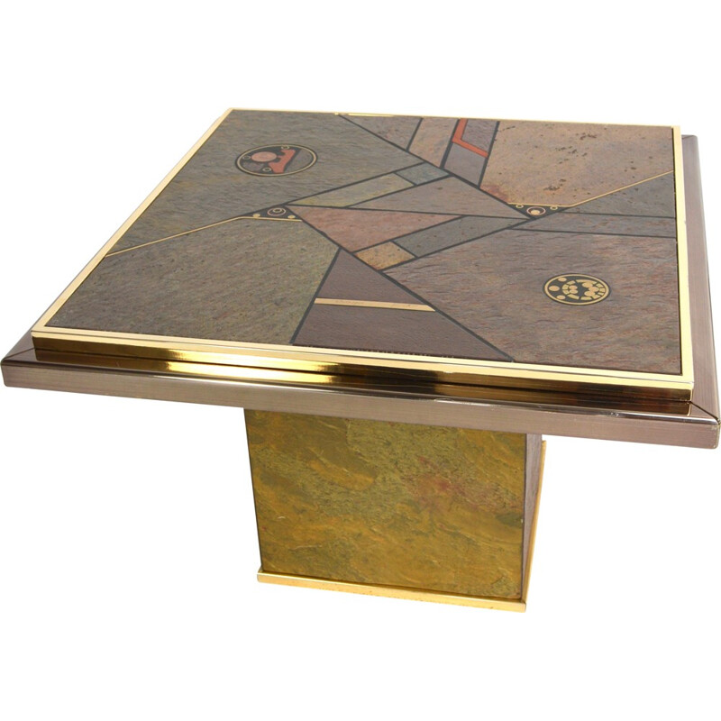Dutch Fedam side table in granite and brass, Paul KINGMA - 1970s
