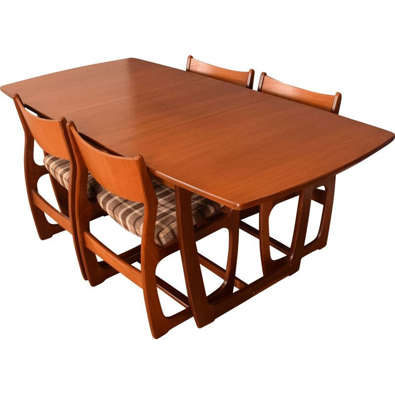 Set of 4 vintage teak chairs and table with extension leaf restored by Portwood England 1960s