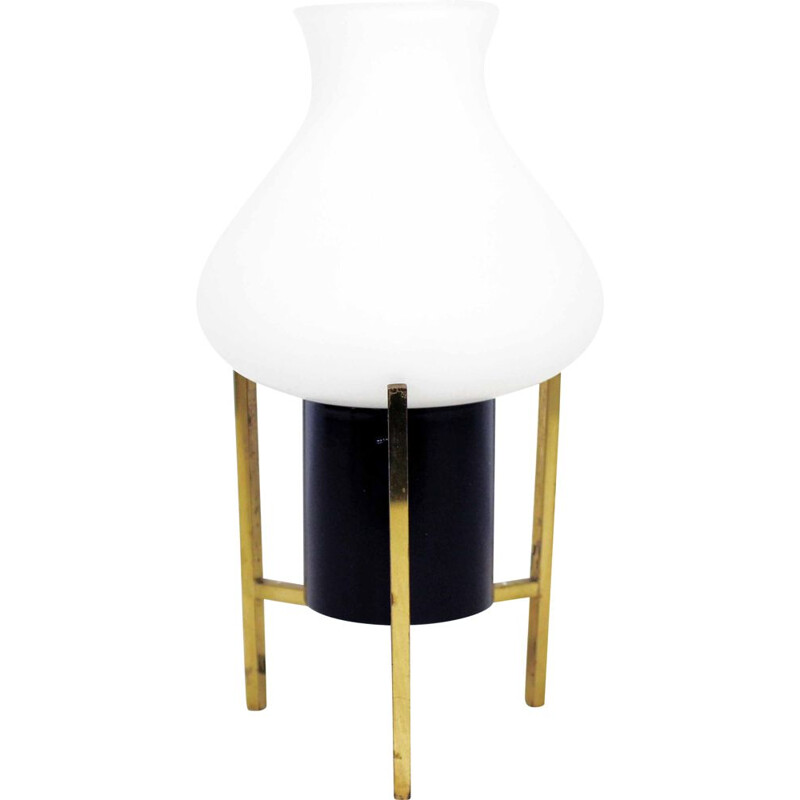 Vintage  table lamp brass and opaline glass tripod 1960s