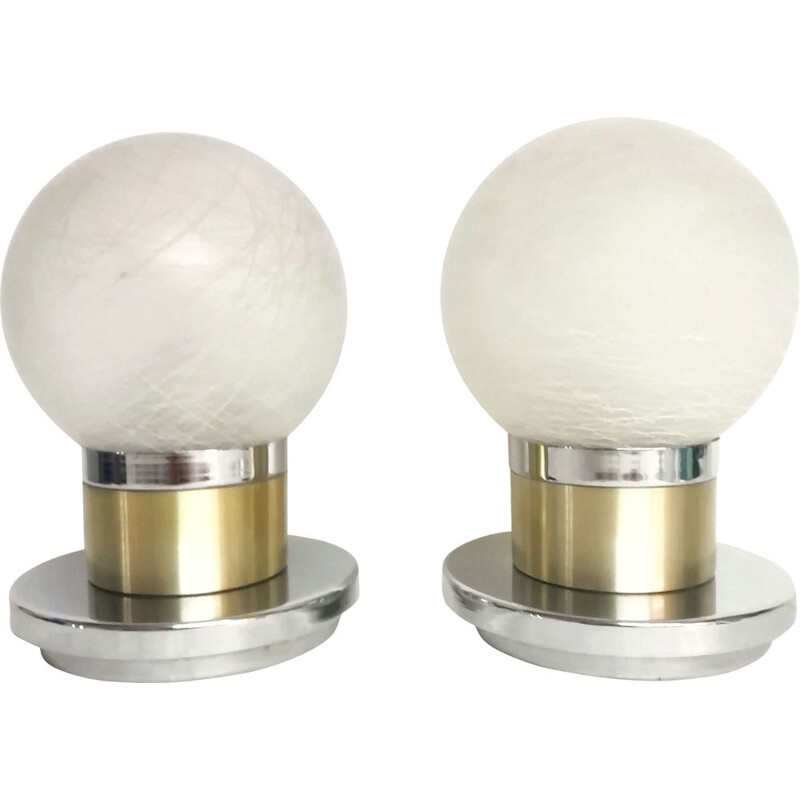 Pair of vintage Murano glass table lamps 1970s