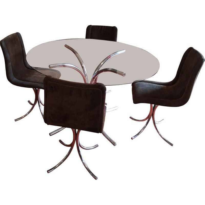 Set of 4 vintage chairs and table in chrome Italy 1970s