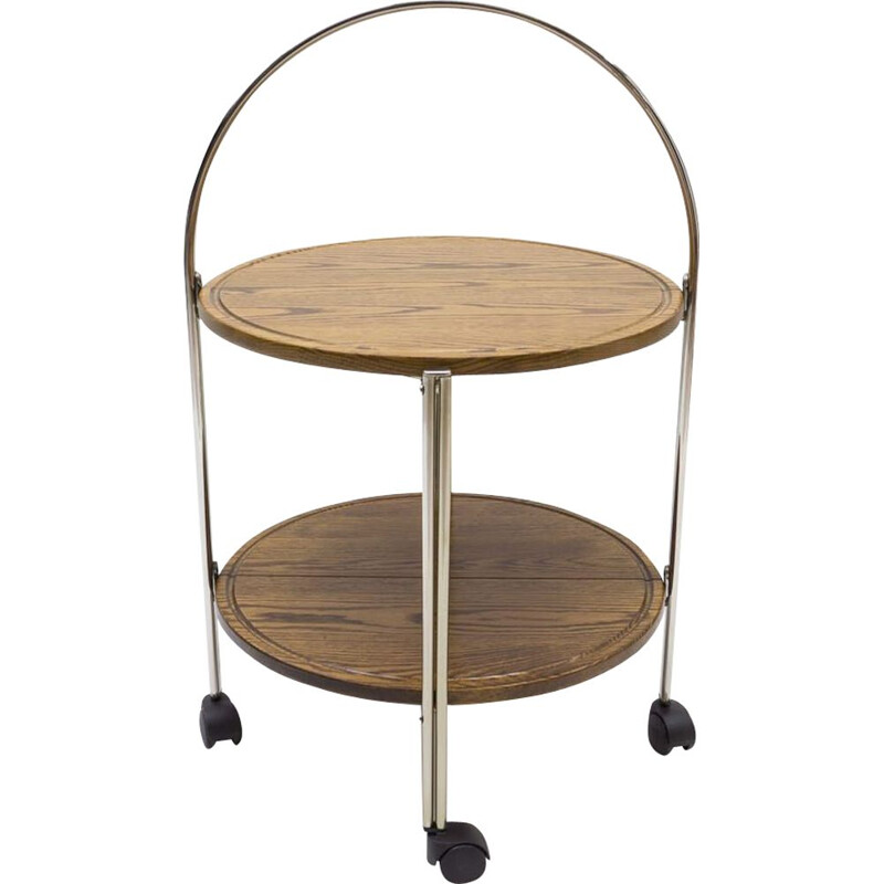 Vintage folding serving trolley in oak and chrome 1960s