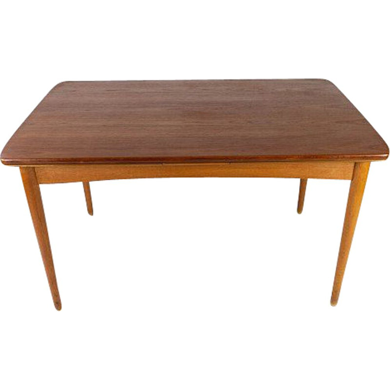 Vintage teak table with extensions and oak legs Denmark 1960s
