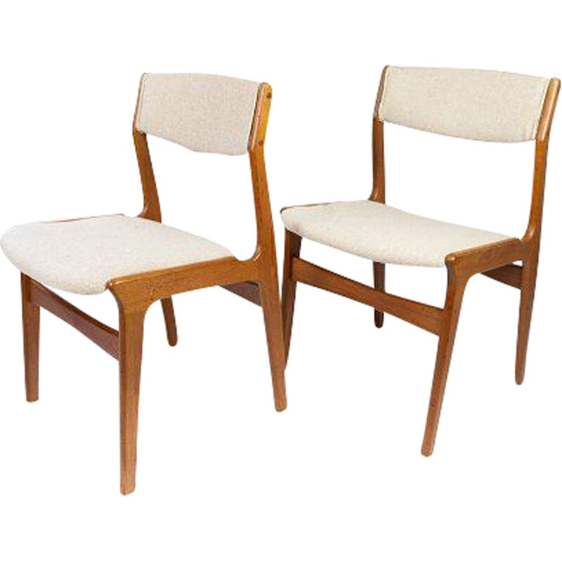 Pair of vintage teak chairs upholstered in light-coloured fabric by Erik Buch 1960s