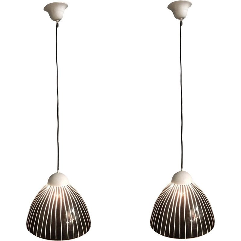Pair of vintage black Murano glass hanging lamps 1970s