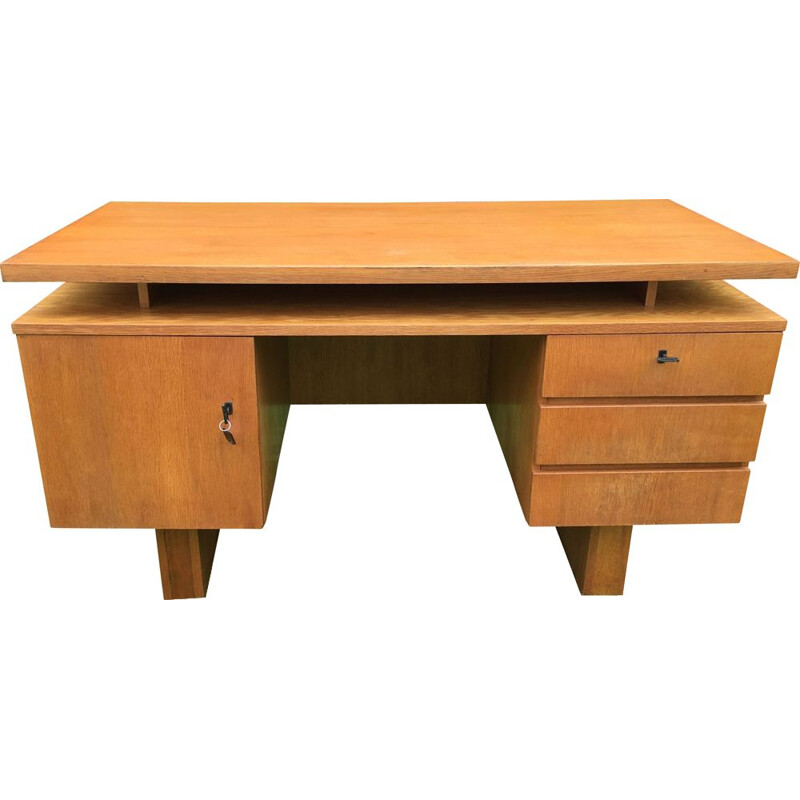 Vintage desk with 3 drawers and a lockable door 1960s