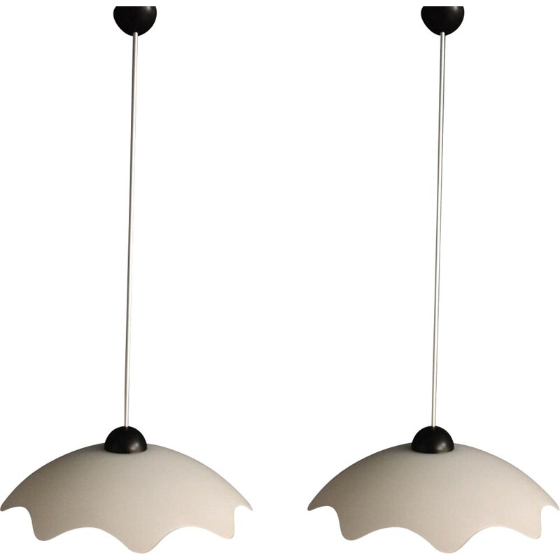Pair of vintage opal glass hanging lamps 1960s