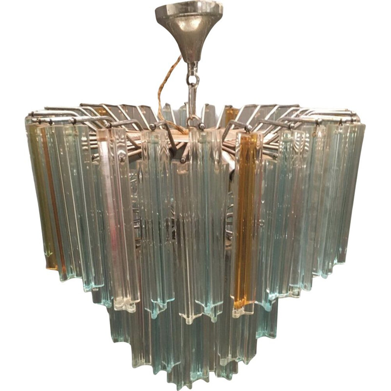 Mid century chandelier composed of blue clear prisms by Paolo Venini for Murano, 1970s